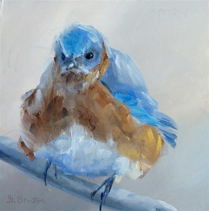 Original art for sale at UGallery.com | Grumpy Bird by GARY BRUTON | $300 | Oil painting | 5' h x 5' w | http://www.ugallery.com/oil-painting-grumpy-bird