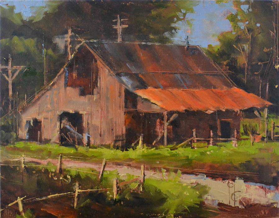 Discover Original Art by Garry Colby | Olden Barn Beauty oil painting | Art for Sale Online at UGallery
