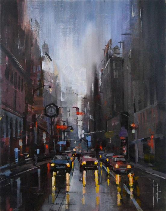 Discover Original Art by Garry Colby | Dusk in the City oil painting | Art for Sale Online at UGallery