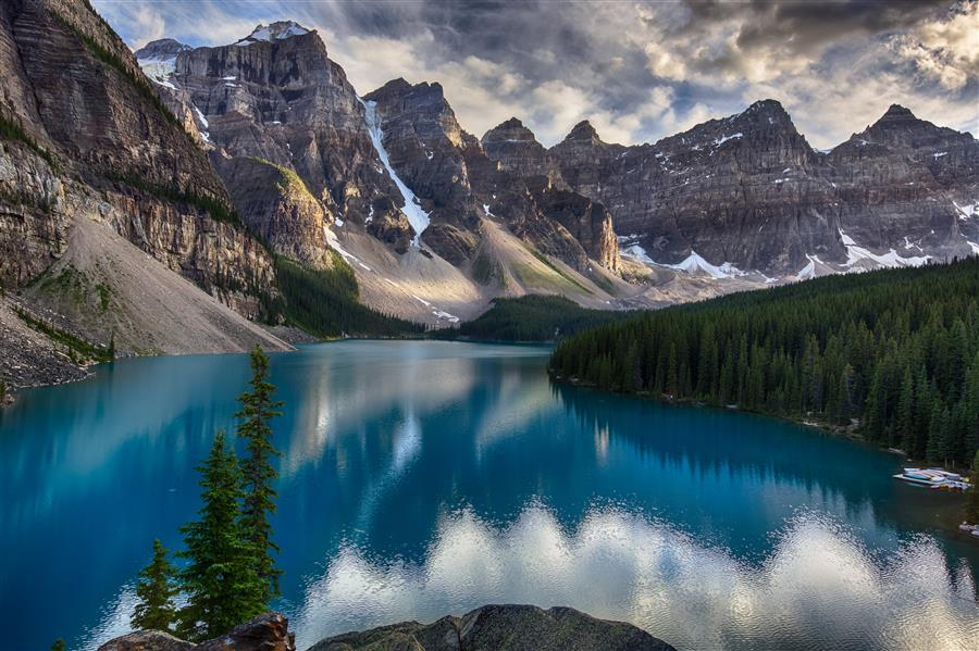 Discover Original Art by Jay Moore | Moraine Lake, Sunset photography | Art for Sale Online at UGallery