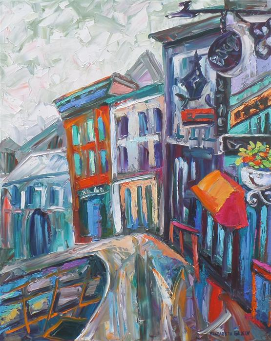 Original art for sale at UGallery.com | Rainy Day in Quebec City by ELIZABETH ELKIN | $775 | Oil painting | 20' h x 16' w | http://www.ugallery.com/oil-painting-rainy-day-in-quebec-city