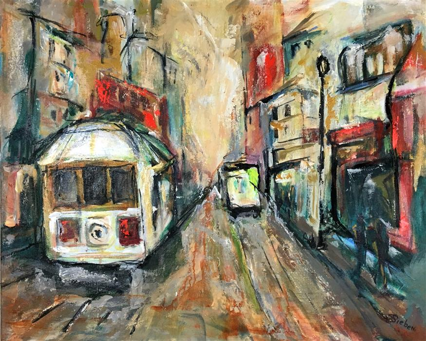 Discover Original Art by Sharon Sieben | Trolley Town acrylic painting | Art for Sale Online at UGallery