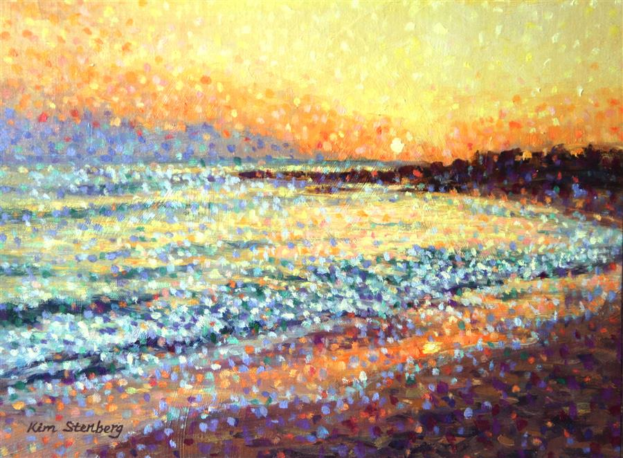 Discover Original Art by Kim Stenberg | Sunset Beach oil painting | Art for Sale Online at UGallery