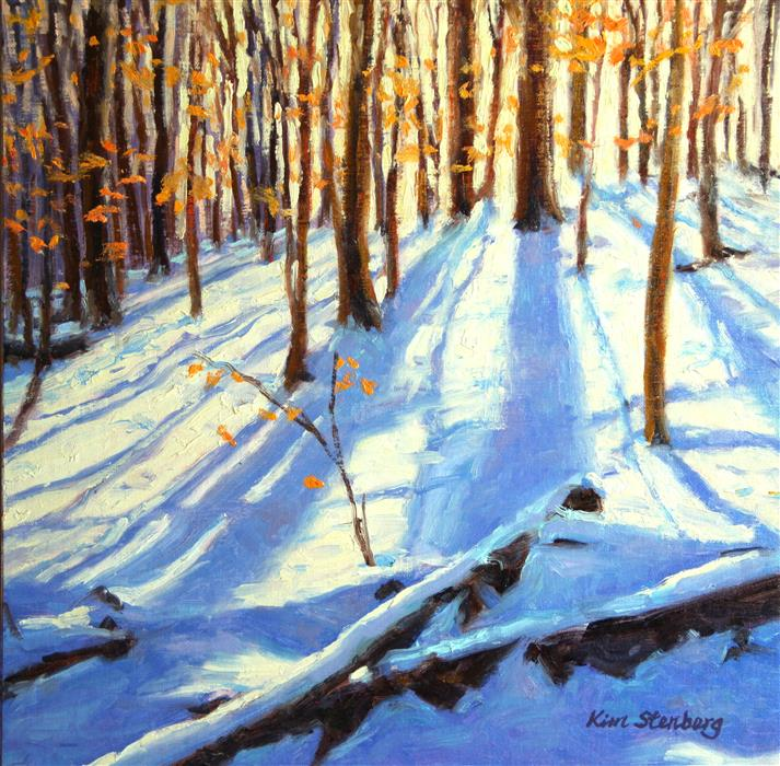 Discover Original Art by Kim Stenberg | Winter Woods oil painting | Art for Sale Online at UGallery