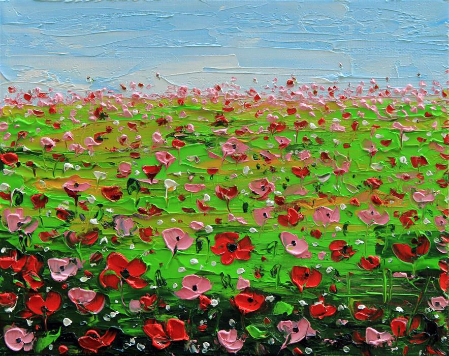 Original art for sale at UGallery.com | Poppy Field by LISA ELLEY | $250 | Oil painting | 8' h x 10' w | http://www.ugallery.com/oil-painting-poppy-field-46038
