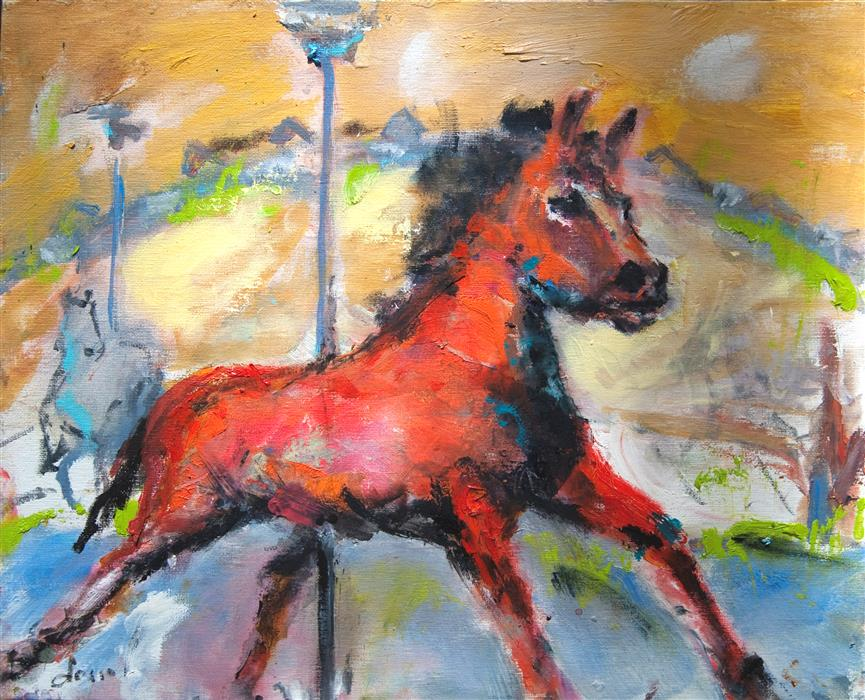 Discover Original Art by Anne Dosso-Powell | Red Horse on Carousel oil painting | Art for Sale Online at UGallery