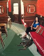 Animals art,People art,Realism art,Representational art,acrylic painting,Young Woman (and Her Little Dog Too) in an Old Irish Pub