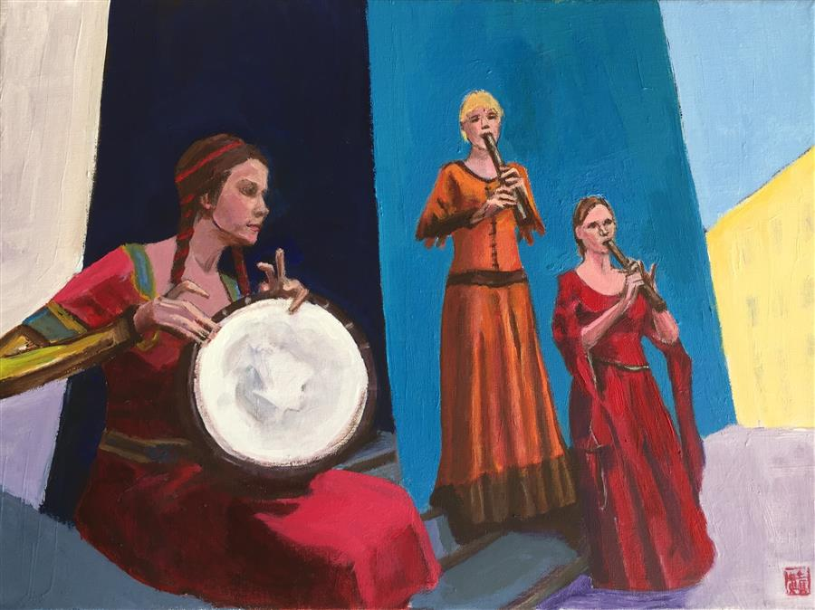 Discover Original Art by Laura (Yi Zhen) Chen | Three Street Performers acrylic painting | Art for Sale Online at UGallery