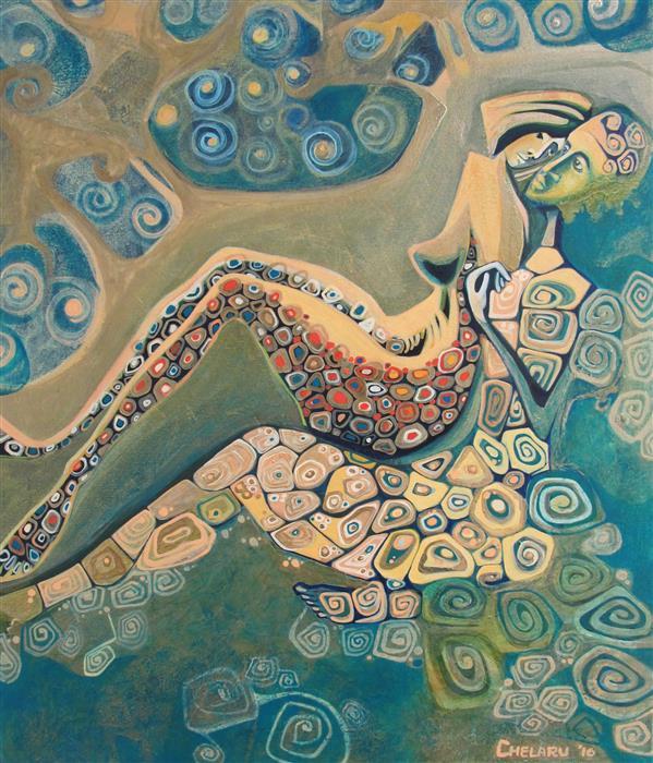 Original art for sale at UGallery.com | Fallen Angel V (Azael) by DIANA ELENA CHELARU | $1,175 | Acrylic painting | 23' h x 20' w | http://www.ugallery.com/acrylic-painting-fallen-angel-v-azael
