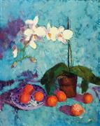 Still Life art,Flora art,Representational art,oil painting,Orchids and Oranges