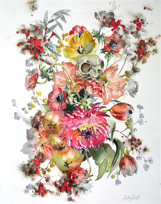 Original art for sale at UGallery.com | Delicate Decay by ASHLEY CECIL | $1,575 | Mixed media artwork | 19' h x 15' w | http://www.ugallery.com/mixed-media-artwork-delicate-decay