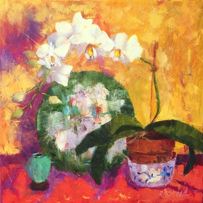 Discover Original Art by Roxanne Steed | White Orchids and Provence Linens oil painting | Art for Sale Online at UGallery