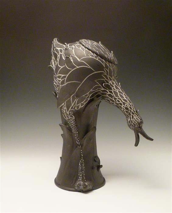 Original art for sale at UGallery.com | Black Bird Teapot by EILEEN BRAUN | $950 | Sculpture | 12.5' h x 8' w | http://www.ugallery.com/sculpture-black-bird-teapot