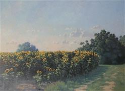 Impressionism art,Landscape art,Flora art,Representational art,oil painting,Afternoon Sunflowers