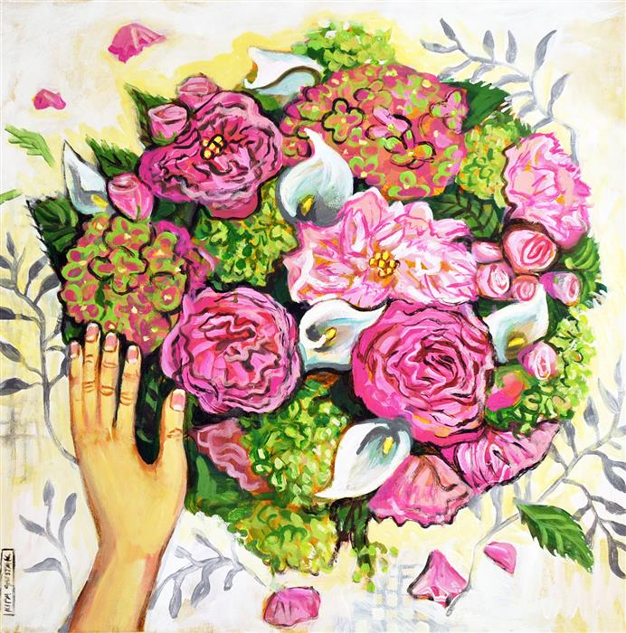 Discover Original Art by Kira Yustak | The Bouquet acrylic painting | Art for Sale Online at UGallery