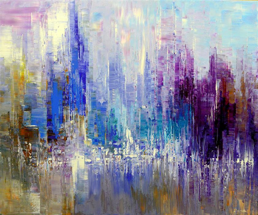 Original art for sale at UGallery.com | Stellar Skyline by TATIANA ILIINA | $2,500 | Acrylic painting | 30' h x 36' w | http://www.ugallery.com/acrylic-painting-stellar-skyline