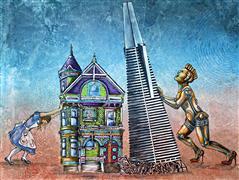 Architecture art,Expressionism art,Fantasy art,Representational art,acrylic painting,David Against Goliath