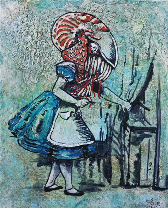 Original art for sale at UGallery.com | Alice and the Key to San Francisco by FLEUR SPOLIDOR | $775 | Acrylic painting | 20' h x 16' w | http://www.ugallery.com/acrylic-painting-alice-and-the-key-to-san-francisco