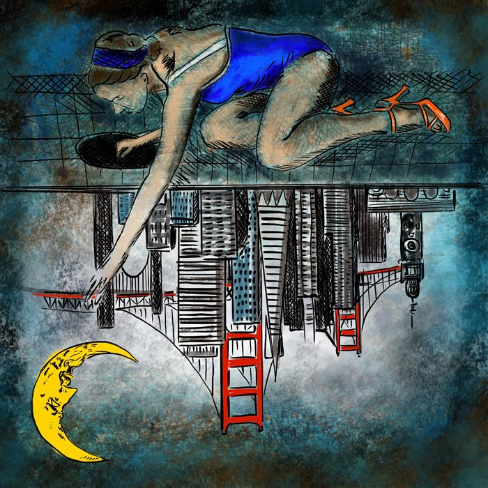 Original art for sale at UGallery.com | Reaching for the Moon over San Francisco by FLEUR SPOLIDOR | $260 |  | ' h x ' w | http://www.ugallery.com/digital-printmaking-reaching-for-the-moon-over-san-francisco