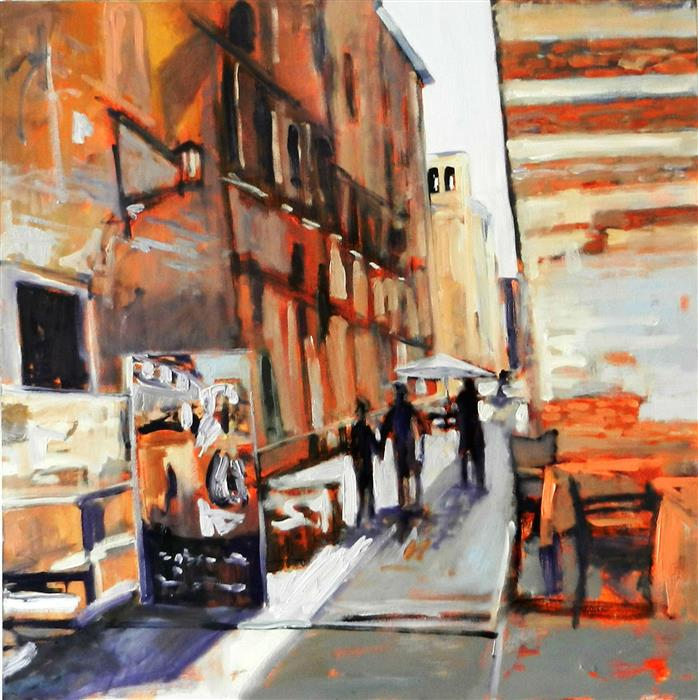 Discover Original Art by Mary Pratt | Street in Florence oil painting | Art for Sale Online at UGallery