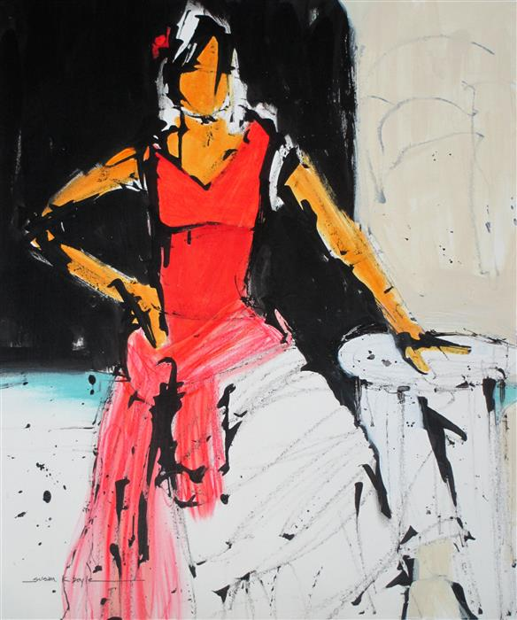Original art for sale at UGallery.com | The Red Dress by SUSAN K BOYLE | $475 | Acrylic painting | 21.75' h x 18.25' w | http://www.ugallery.com/acrylic-painting-the-red-dress