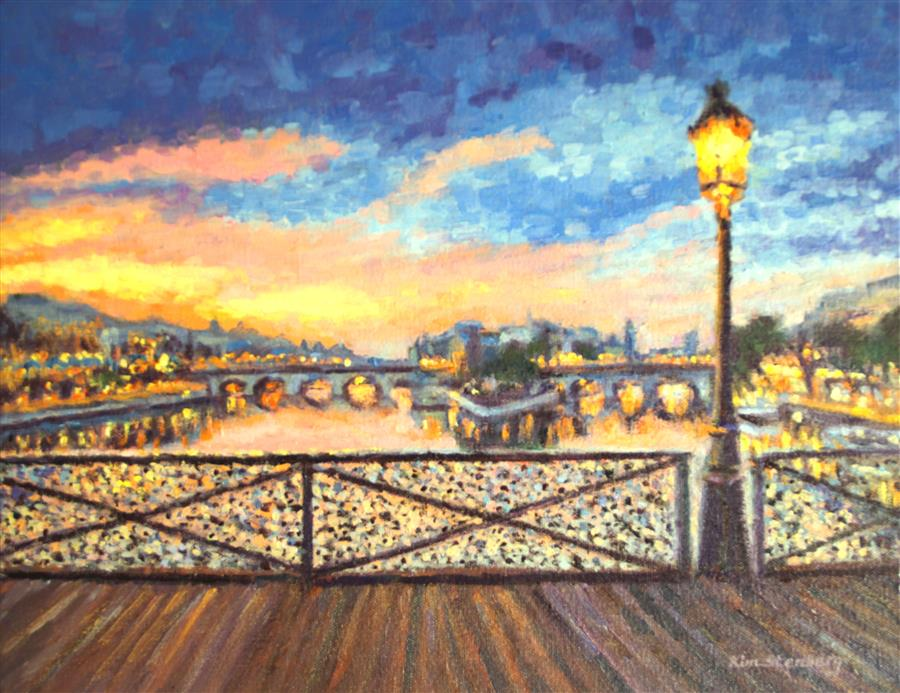 Discover Original Art by Kim Stenberg | Paris Bridge of Love oil painting | Art for Sale Online at UGallery