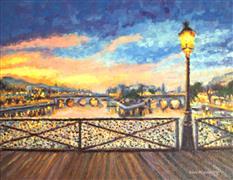 Architecture art,Impressionism art,Travel art,Representational art,oil painting,Paris Bridge of Love