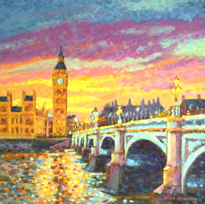 Discover Original Art by Kim Stenberg | Big Ben Sunset oil painting | Art for Sale Online at UGallery