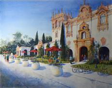 Architecture art,Impressionism art,Travel art,Representational art,watercolor painting,Balboa Park, San Diego