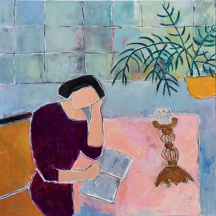 Original art for sale at UGallery.com | Woman Reading II by FENG BIDDLE | $1,225 | Acrylic painting | 30' h x 30' w | http://www.ugallery.com/acrylic-painting-woman-reading-ii