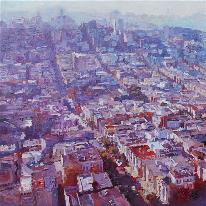 Original art for sale at UGallery.com | Looking North From Telegraph Hill by SETH COUTURE | $675 | Acrylic painting | 16' h x 16' w | http://www.ugallery.com/acrylic-painting-looking-north-from-telegraph-hill