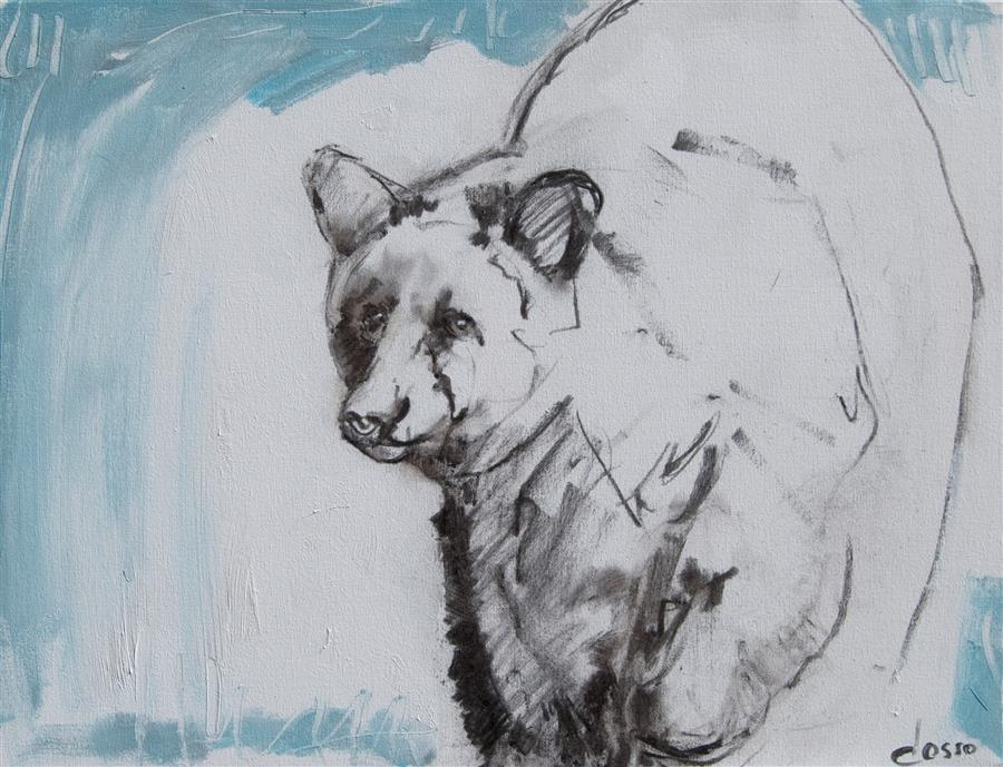 Discover Original Art by Anne Dosso-Powell | Bear and Waterfall  mixed media artwork | Art for Sale Online at UGallery
