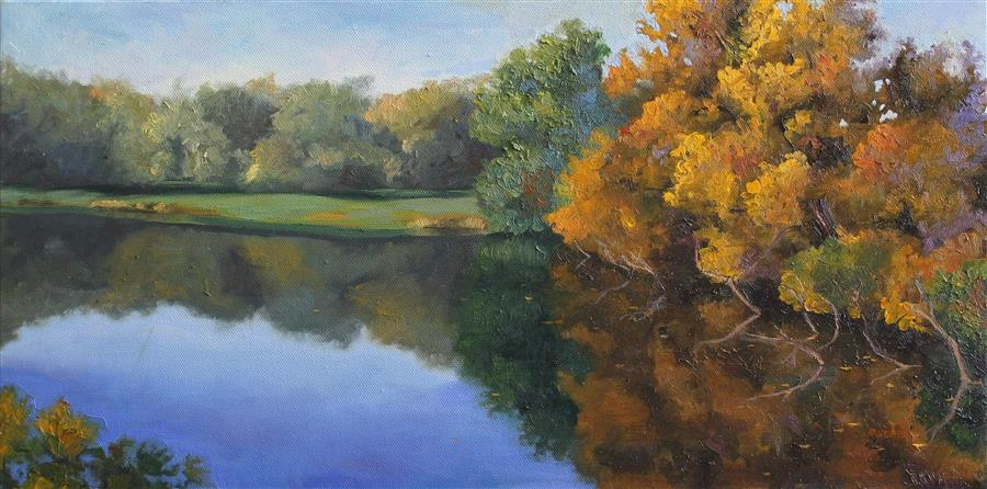 Original art for sale at UGallery.com | Golden Reflections by ANDRES LOPEZ | $750 | Oil painting | 10' h x 20' w | http://www.ugallery.com/oil-painting-golden-reflections