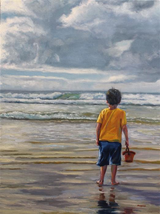 Original art for sale at UGallery.com | Child Looking Southeast by ANDRES LOPEZ | $975 | Oil painting | 24' h x 18' w | http://www.ugallery.com/oil-painting-child-looking-southeast