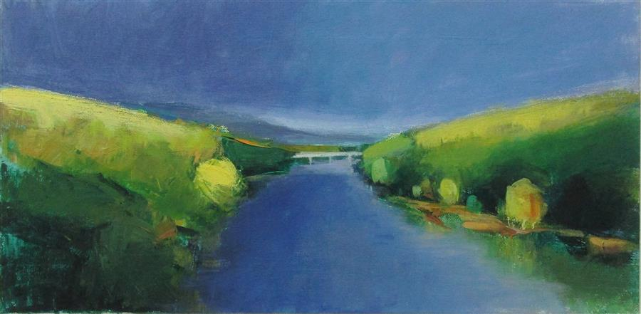 Original art for sale at UGallery.com | Bridge, Pennsylvania by JANET DYER | $650 | Acrylic painting | 12' h x 24' w | http://www.ugallery.com/acrylic-painting-bridge-pennsylvania