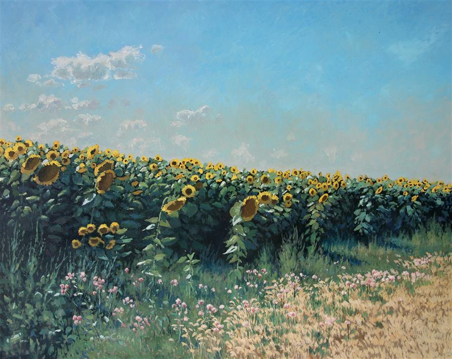 Original art for sale at UGallery.com | Midday Sunflowers by STEFAN CONKA | $1,300 | Oil painting | 25.7' h x 31.5' w | http://www.ugallery.com/oil-painting-midday-sunflowers