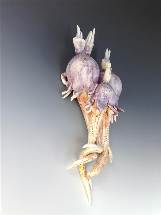 Original art for sale at UGallery.com | Purple Tulip Reef by EILEEN BRAUN | $350 | Ceramic artwork | 12' h x 7' w | http://www.ugallery.com/ceramic-artwork-purple-tulip-reef