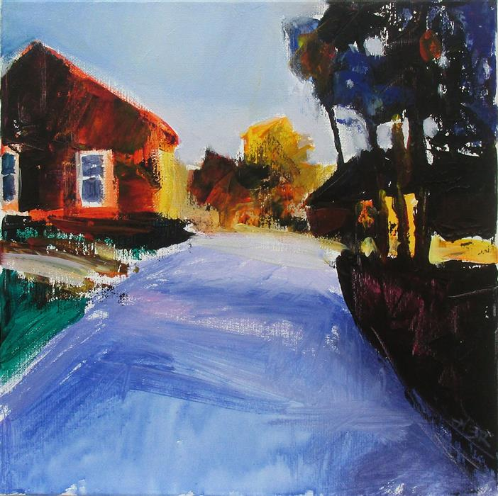 Original art for sale at UGallery.com | Orange House and Drive by JANET DYER | $450 | Acrylic painting | 12' h x 12' w | http://www.ugallery.com/acrylic-painting-orange-house-and-drive