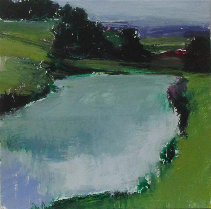 Original art for sale at UGallery.com | Midsomer Pond by JANET DYER | $450 | Acrylic painting | 12' h x 12' w | http://www.ugallery.com/acrylic-painting-midsomer-pond