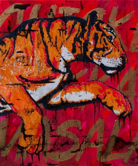 Original art for sale at UGallery.com | Shere Khan's Spicy Chicken by BILL WATSON | $750 | Acrylic painting | 24' h x 20' w | http://www.ugallery.com/acrylic-painting-shere-khan-s-spicy-chicken