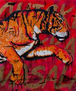 Animals art,Street Art art,Representational art,acrylic painting,Shere Khan's Spicy Chicken