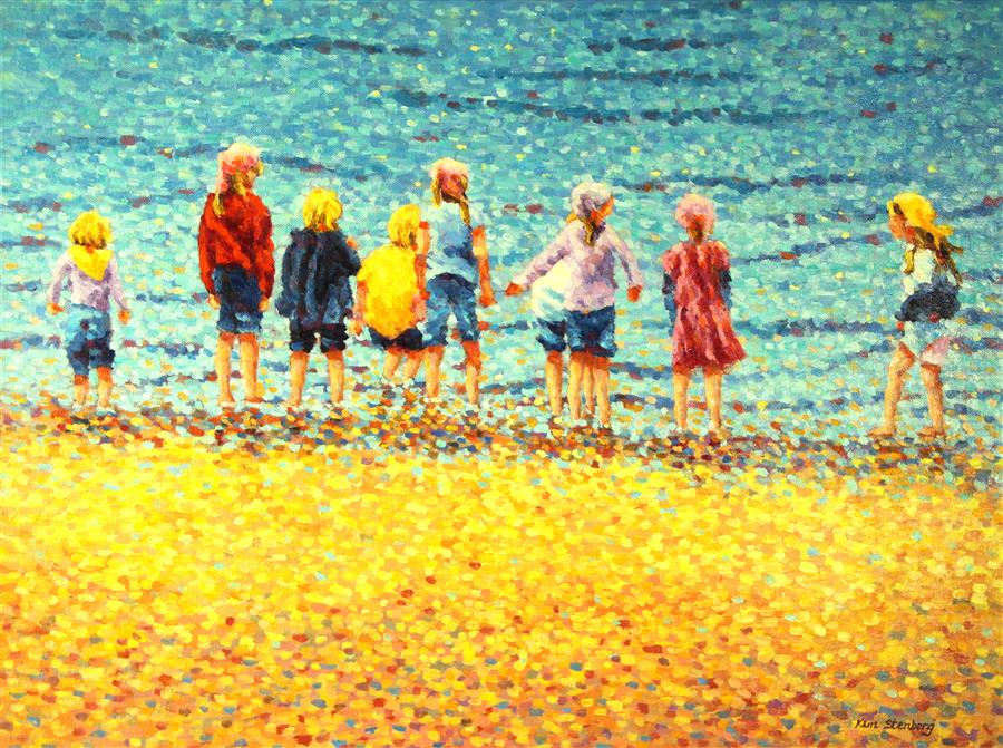 Original art for sale at UGallery.com | California Beach Kids by KIM STENBERG | $1,775 | Oil painting | 18' h x 24' w | http://www.ugallery.com/oil-painting-california-beach-kids