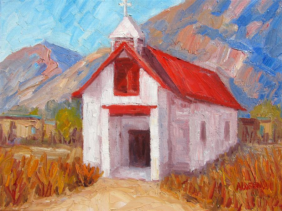 Original art for sale at UGallery.com | Church at Pilar by ROGER ALDERMAN | $1,100 | Oil painting | 12' h x 16' w | http://www.ugallery.com/oil-painting-church-at-pilar