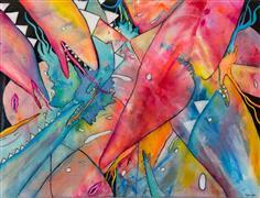 Fantasy art,Pop art,Representational art,mixed media artwork,Sharks