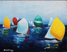 Impressionism art,Seascape art,Sports art,Representational art,oil painting,Downwind Race II