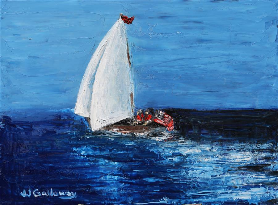 Original art for sale at UGallery.com | USA Sailing by JJ GALLOWAY | $600 | Oil painting | 12' h x 16' w | http://www.ugallery.com/oil-painting-usa-sailing