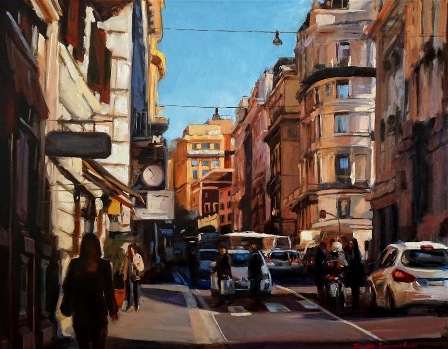 Original art for sale at UGallery.com | Busy Street in Rome by JONELLE SUMMERFIELD | $1,500 | Oil painting | 24' h x 30' w | http://www.ugallery.com/oil-painting-busy-street-in-rome