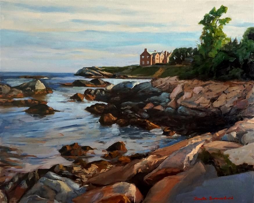Original art for sale at UGallery.com | Along the Cliff Walk by JONELLE SUMMERFIELD | $1,300 | Oil painting | 24' h x 30' w | http://www.ugallery.com/oil-painting-along-the-cliff-walk