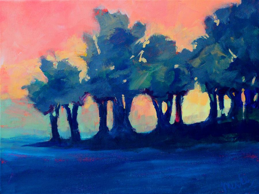 Discover Original Art by Nancy Merkle | Tree Line Sunset acrylic painting | Art for Sale Online at UGallery