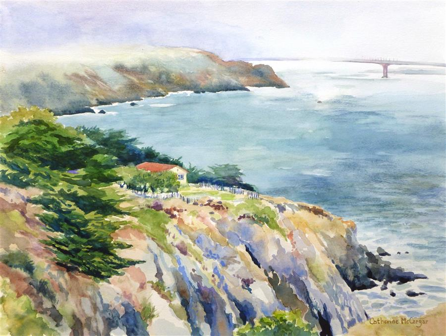 Original art for sale at UGallery.com | View from Point Bonita by CATHERINE MCCARGAR | $625 | Watercolor painting | 12' h x 16' w | http://www.ugallery.com/watercolor-painting-view-from-point-bonita